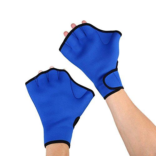 HLLMAN Swim Gloves Frog Web Gloves Aquatic Fitness Water Resistance Training Water Resistance Neoprene (Blue S)
