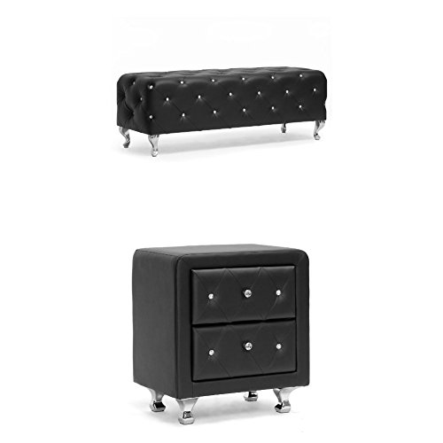 Baxton Studio 2-pc Stella Crystal Tufted Upholstered Modern Bench and Nightstand Bedroom Set , Black (Baxton Studio Stella Crystal Tufted Modern Bench)