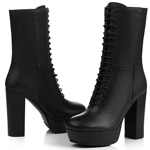 TAOFFEN Lace Women Block High Classical Zipper Up Ankle With Black Leather Heel Boots n6Ur4UqW