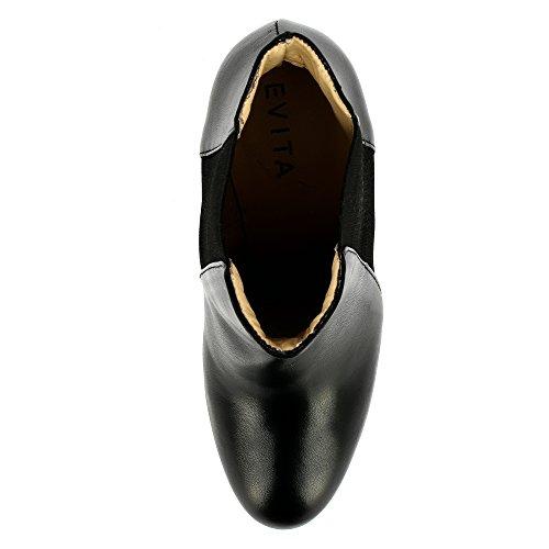 Evita Shoes Eleonora Damen Stiefelette Glattleder Schwarz