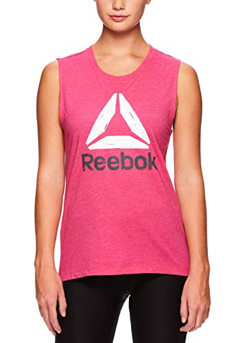 Reebok Womens Muscle Tank Top - Ladies Moisture Wicking Activewear & Workout Shirt - Beetroot Heather, Large