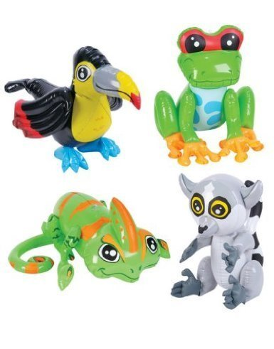 Set of (4) Inflatable, Colorful Tropical Rainforest Animals /Toucan/ Lemur/Tree Frog/Chamelion (24in. Each) / Theme Party Favor / Decor / Gift / Prize / Giveaway by RIN (Frogs Rainforest Tree)