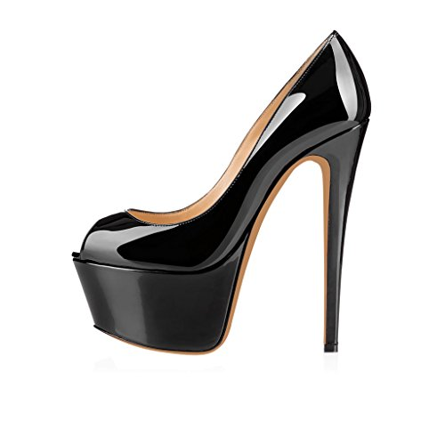 Image of Eithy Women's Patent Slip on Stiletto High Heels Peep Toe Dress Party Pumps 7 M US