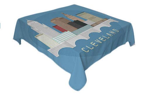 Cleveland Table Cloths Spill Proof Composition Flat Design High Rise Commercial Buildings of Cleveland City Multicolor Custom tablecloths Rectangle Tablecloth 60 by 84 inch ()