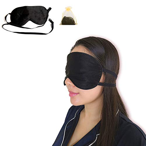 HUBOO Sleep Mask Soft Natural Silk Eye Mask for Sleeping Blindfold Eye Covers with Double Adjustable Strap for Men and Women - Black