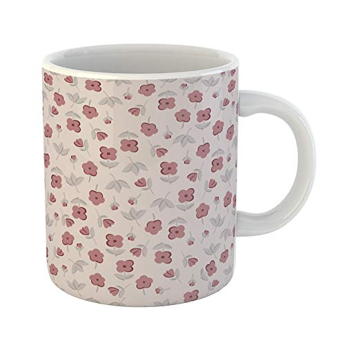 (Emvency Coffee Tea Mug Gift 11 Ounces Funny Ceramic Green Abstract Terracotta Flowers Graphic Small Floral Pattern Beauty Gifts For Family Friends Coworkers Boss Mug)