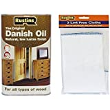 Rustins Danish Oil 1Ltr Complete With Pack Of Three Lint free Cloths