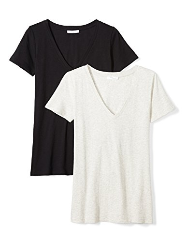 Price comparison product image Daily Ritual Women's Tissue Cotton Short-Sleeve V-Neck T-Shirt,  2-Pack,  XXL,  Black / Heather Grey