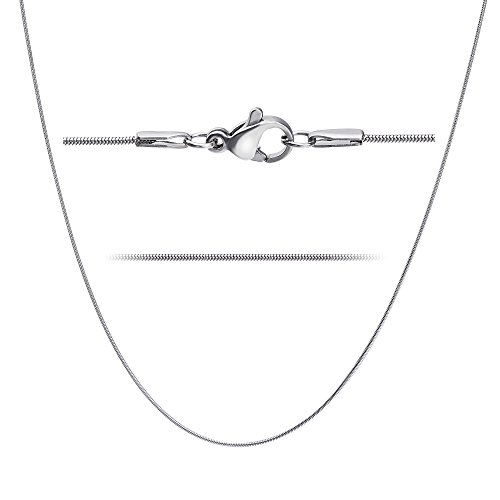 LOLIAS 2 Pcs Stainless Steel 1mm Round Snake Chain Box Chain Necklace Super Thin & Strong,30 Inch by LOLIAS (Image #1)
