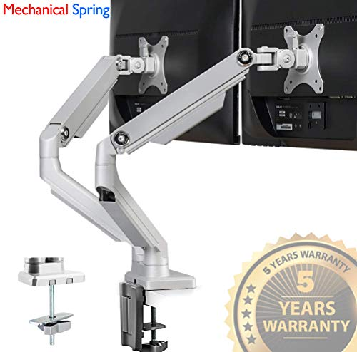(IMtKotW Dual Arm Monitor Stand - Height Adjustable Full Motion Mechanical Spring Monitor Desk Mount with C Clamp/Grommet Base Fits 17