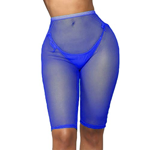 3aba7c6fcb RUEWEY Women See Throug Mesh Fishnet Swimsuit Cover up Pants Bikini Bottom  Cover up Shorts (