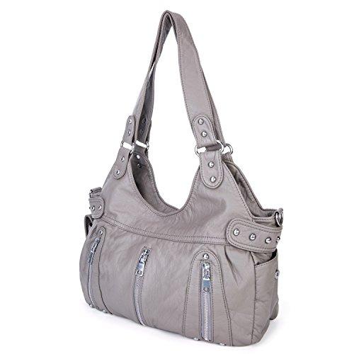 para de escuela Negro el viaje trabajo Mujer Mochila PU para con Bolso Multi bolsillo Gris de cuero pequeña 8F5xqIB