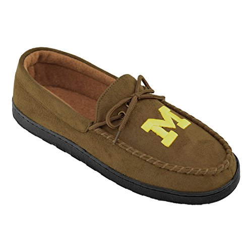 College Edition NCAA (Team) Premium Men's Moccasin Shoes – Comfortable Flannel Lining Indoor and Outdoor use Easy Slip on and ()