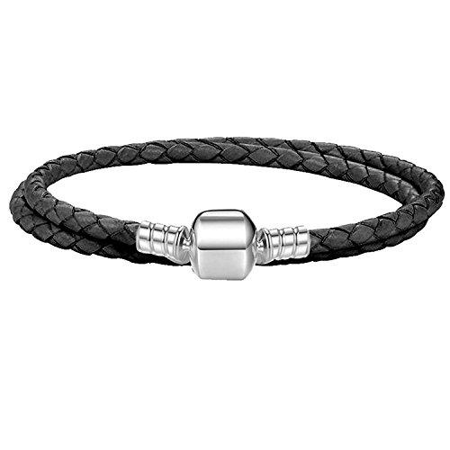 eebc63e7c Charm Buddy 37cm 18cm Black Leather Double Wrap Pandora Style Bracelet Fits  Charms Beads