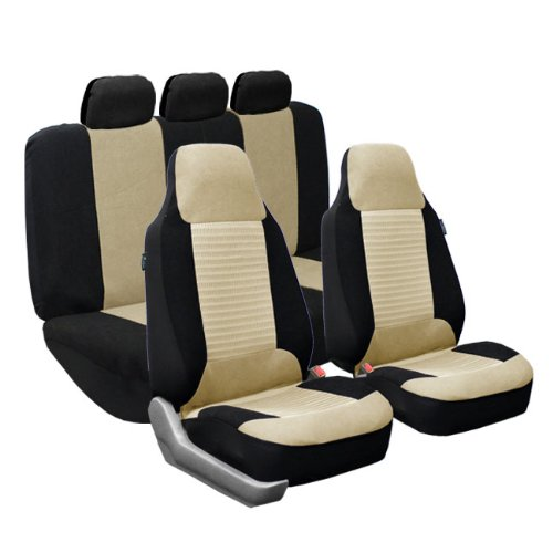 FH Group FB107BEIGE115 Seat Cover (Premium Fabric Full Set Airbag Compatible Beige)