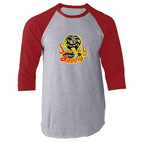 Sweep The Leg Johnny Cobra Kai Karate Kid 80s Red L Raglan Baseball Tee Shirt -