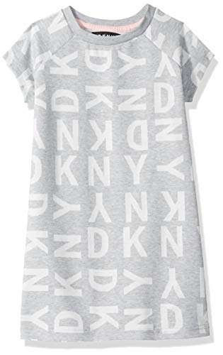 DKNY Girls' Little Logo T-Shirt Dress, Medium Heather Grey, 5 from DKNY