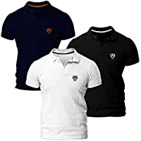 Kit com Três Camisas Polo Piquet Regular Fit Brasão Polo Match