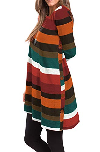 iGENJUN Women's Long Sleeve Scoop Neck Button Side Sweater Tunic Dress,XL,AW-7 (Drape Word Another For)