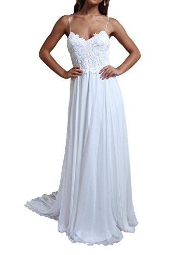 Ruolai Women's Chiffon Beach Wedding Dress Bridal Gown ivory 14