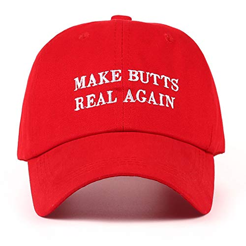 - GordonKo New Make Butts Real Again Dad Hat Men Women Cotton Baseball Cap Unstructured New - Red,Red