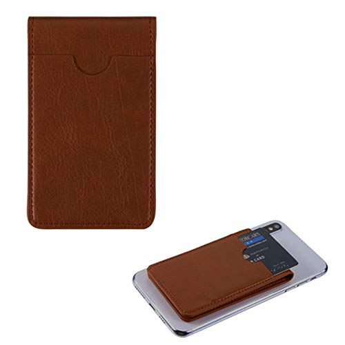 Pocket+Stylus, Fits Universal Apple ZTE LG MYBAT Brown Leather Adhesive Card Pouch/Stand. Soft Spandex Sleeve Secure Wallet.Fits Most Phones,Tablets,Gadgets w Flat Surface.See Models Below: