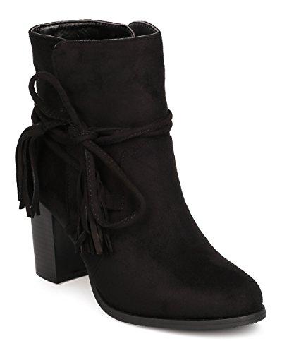 Women Faux Suede Wraparound Tasseled Chunky Heel Bootie FE53 - Black (Size: 8.0)
