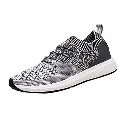 Vibola Mens Running Shoes Fashion Woven Sneakers Breathable Mesh Slip on Blade Athletic Tennis Sports Shoe -
