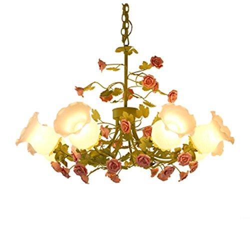 DGS Iron Glass Chandelier Garden Chandeliers Living Room Lamps 8 Flowers And Flowers Lighting Color Creative Warm Chandeliers - Ibiza 8 Light Chandelier