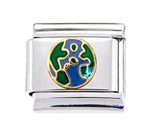 Stylysh Charms Earth Globe View Oceans Enamel Italian 9mm Link OC159