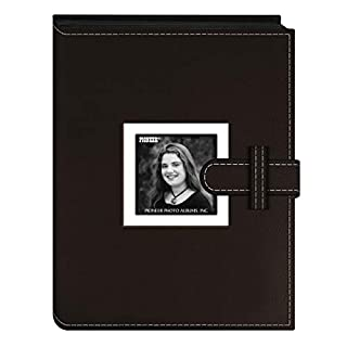 Pioneer Photo Albums 24 Pocket Sewn Leatherette Frame Cover Album with Strap Closure for 4 by 6-Inch Prints, Dark Brown