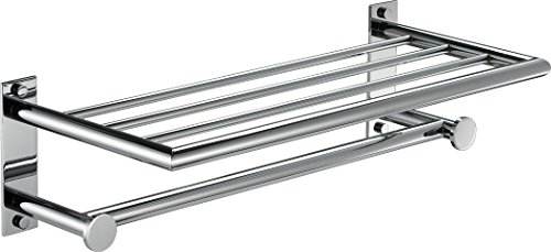 Inox 21'' Wall Mounting Towel Rack with Shelf and Towel Bar. Brass Polished Chrome Bathroom Towel Bar, Towel Hanger, Made in Spain (European Brand) by Hispania bath