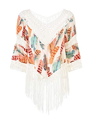 Ferand Women's V-Neck Floral Crochet Long Tassel Poncho Tunic Top, One Size, Style 2: Multicolored Orange
