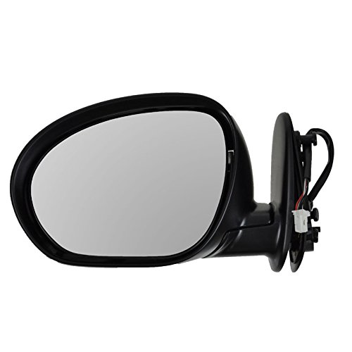 Black Power Heated Left Mirror - Side View Mirror Power Heated Smooth Black Driver Left LH for 09-13 Nissan Cube