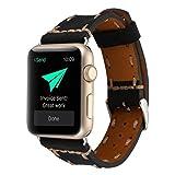 Wrist Watch Band, Winhurn Handcraft Leather Strap Belt for Apple Watch 38mm 2017 (black)