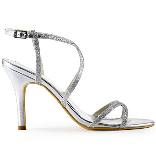 ElegantPark HP1520 Mujer Resplandecer Sandalias El Tacón Alto Zapatillas Cross Strap Boda Noche Zapatos de Baile Plateado