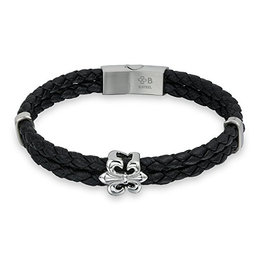(Boho Fashion Fleur De Lis Braided Black Leather Bracelet for Men for Women Biker Punk Rocker Stainless Steel)