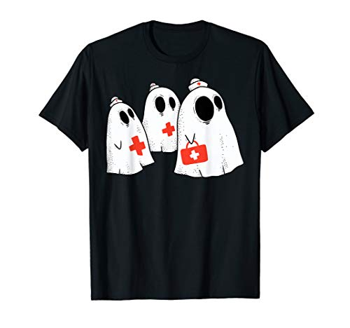 Cute Nurse Ghosts Funny Halloween Ghost Costume for Women T-Shirt