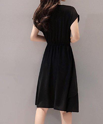 Coolred-femmes Glace Soie Taille Plus Flouncing Robe D'été Partie Noir Élégant