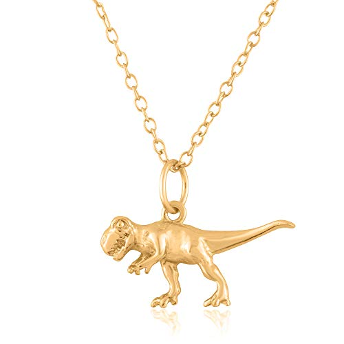 Sterling Silver 18K Yellow Gold Plated 3D Dinosaur Pendant/Charm, with 18-Inch Chain - in Beautiful Polished Finish