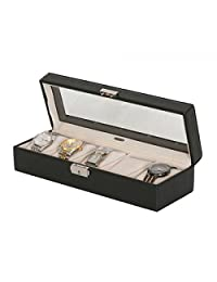 Men's See-Through Glass Top 5 Compartment Watch Box. Textured Black Faux Leather Timepiece Case