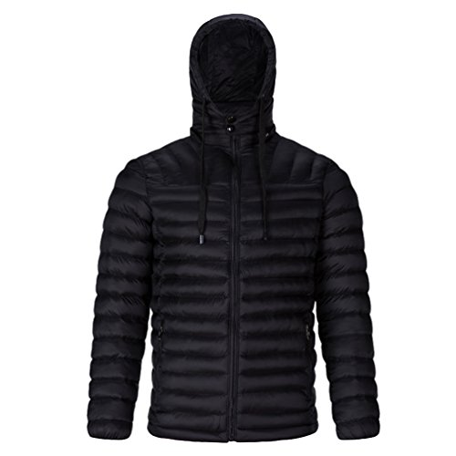 Puffer 1 Padded Outerwear Lightweight Hooded Jacket Winter Quilted Men's Black CHENGYANG Jacket Coat a4qBnEw