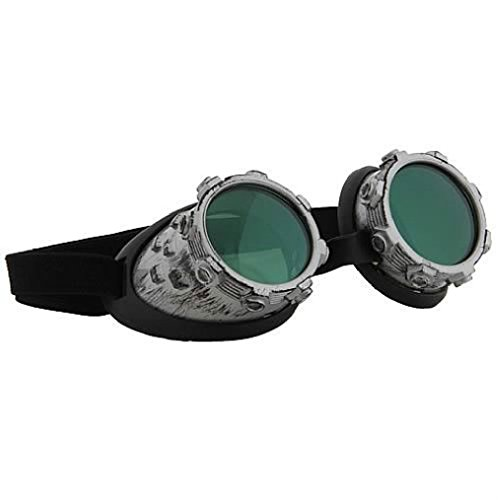 Post Apocalyptic Girl Costume (OvedcRay Steampunk Goth Victorian Cybersteam Silver Green Costume Goggles Glasses)