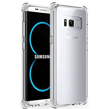 pretty nice 5d3b0 5407e Tarkan Shock Proof Protective Soft Transparent Back Case Cover for Samsung  S8 Plus 6.2 Inch [Bumper Corners]
