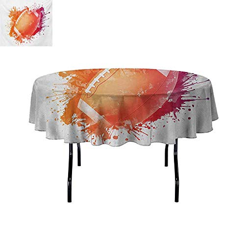 (Gloria Johnson Sports+Washable+Round+Tablecloth+Rugby+Ball+in+Digital+Watercolors+Splash+Recreational+Leisure+Sports+Run+Design+Dinner+Picnic+Home+Decor+D70+Inch+Orange+Red+)