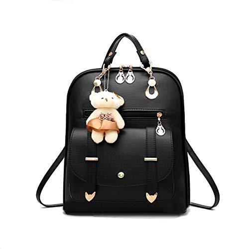 LTDH Girls Backpack PU Leather Backpack Ladies Shoulder Backpack Casual Daypack Fashion Rucksack With Mini Bear Pendant (Black)