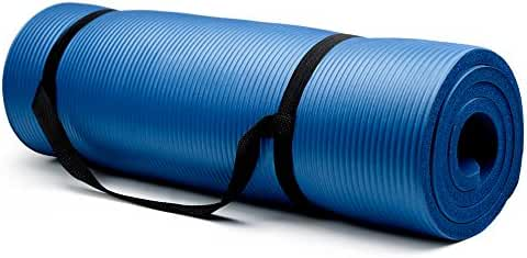 Crown Sporting Goods 3/4-Inch Extra Thick Yoga Mat with No Stick Ridge