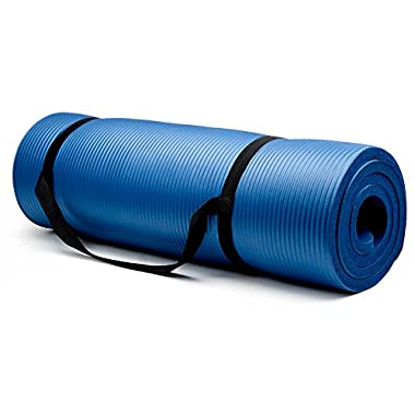 Crown Sporting Goods 3/4-Inch Extra Thick Yoga Mat with No Stick Ridge, Blue