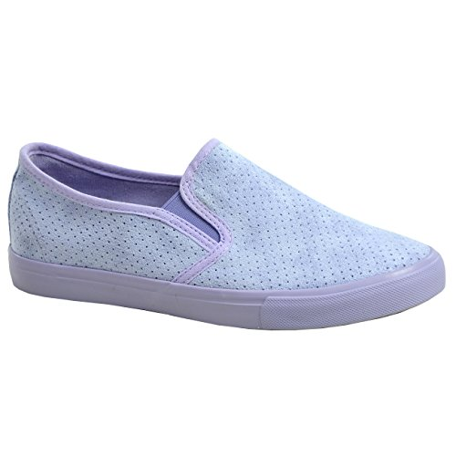 Cucu Fashion New Womens Ladies Comfy Slip On Flat Trainers Sneakers Plimsoll Shoes Sizes Purple gjeqpdAH