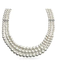 Bling Jewelry 3 Strand Simulated White Pearl Rhodium Plated Collar Necklace 18 Inches